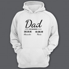 """Толстовка с капюшоном для папы с надписью """"Dad established"""", с датой рождения и именами детей"""