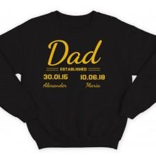 """Свитшот в подарок для папы с надписью """"Dad established"""", с датой рождения и именами детей"""