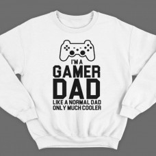 """Свитшот в подарок для папы с надписью """"I'm a gamer dad (like normal dad, only much cooler)"""""""