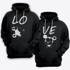 """Парные толстовки с капюшоном для влюбленных  """"LO"""" (Лю-) и  """"VE"""" (-бовь)"""