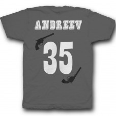 Именная футболка с вестерн шрифтом и револьверами #30