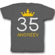 Именная футболка с рукописным шрифтом и короной #29