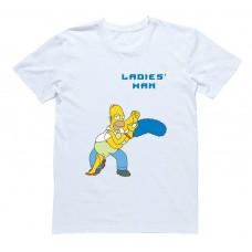 """Мужская футболка с Гомером Симпсоном """"Ladies Man"""""""